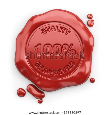 Wax seal with the inscription 100% quality guarantee. 3d image. White background. - stock photo