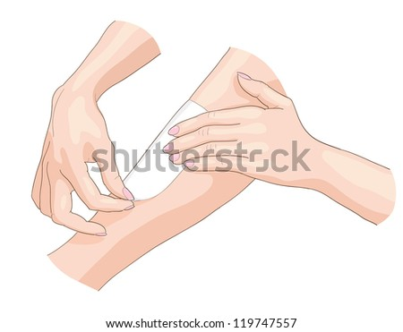 Waxing epilation. Raster version. - stock photo