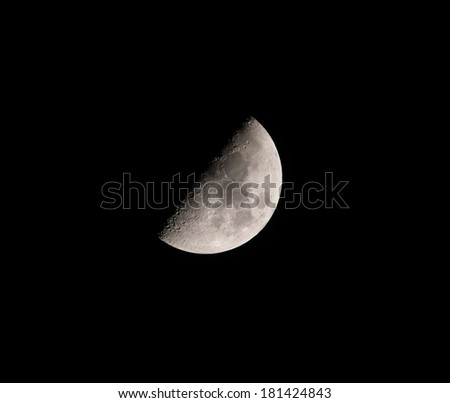 Waxing Gibbous Moon at 53.6% on March 6th, 2014, Northern Hemisphere. Over Hove, East Sussex at 21:34. - stock photo