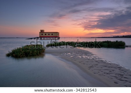 way home , Beach fuseta, Olhao Algarve, Portugal - stock photo