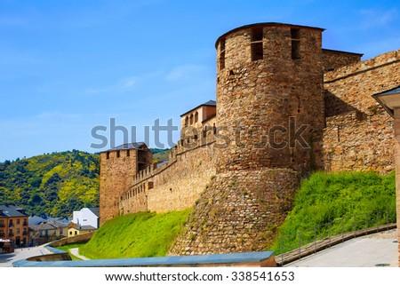 Way of Saint James by Ponferrada Castle El Bierzo of Leon - stock photo