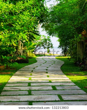 Way to beach in tropical resort. - stock photo