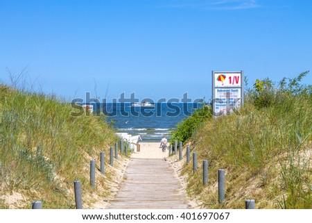 way to the beach, baltic, sea  - stock photo