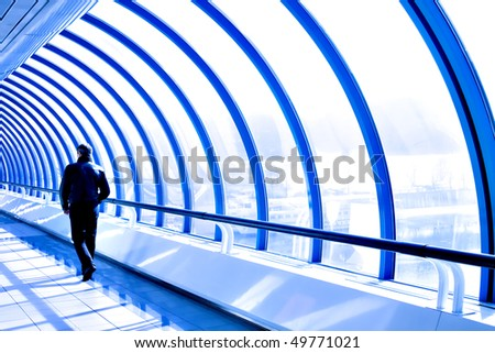 way to the future inside business glass corridor - stock photo