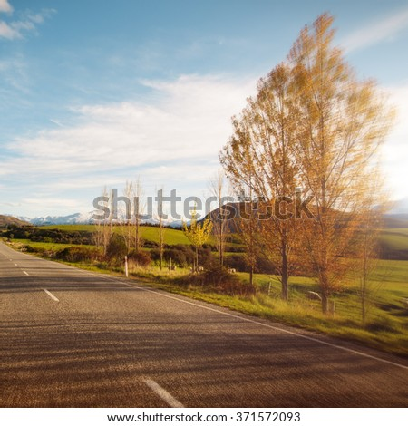 Way Tranquil Scenes Roadway Destination Concept - stock photo