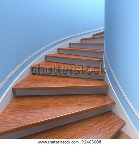 Way up. Three-dimensional spiral wooden staircases. 3d - stock photo