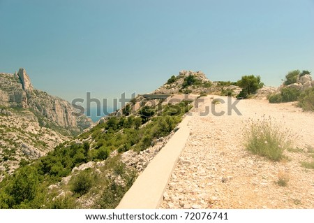 Way up to the lookout point in the Calanques Sugiton - stock photo