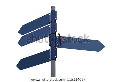 Waymark with four dark blue plates and foreign object on one of them - stock photo
