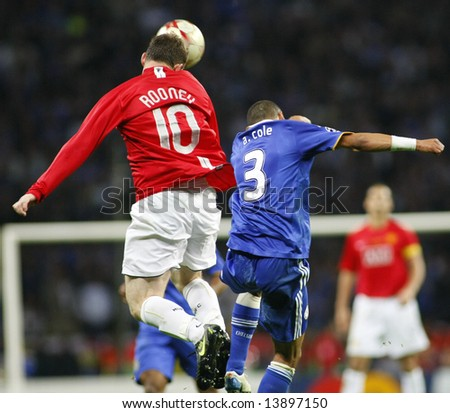 Wayne Rooney heads the ball during the Champions League Final held at Luzhniki Stadium Moscow 21 May 2008 and contested by Manchester United v Chelsea FC - stock photo
