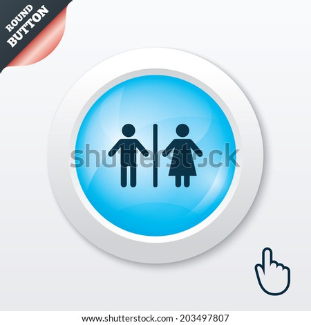 WC sign icon. Toilet symbol. Male and Female toilet. Blue shiny button. Modern UI website button with hand cursor pointer. - stock photo