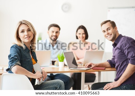 We are happy to work together - stock photo
