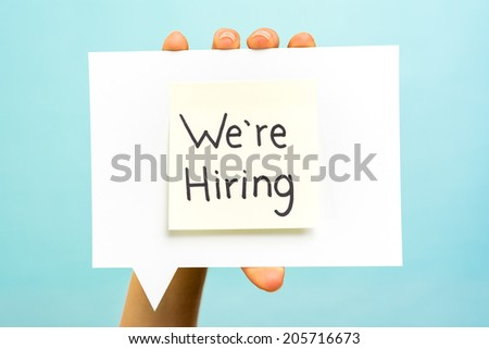 We are hiring message concept on speech bubble - stock photo