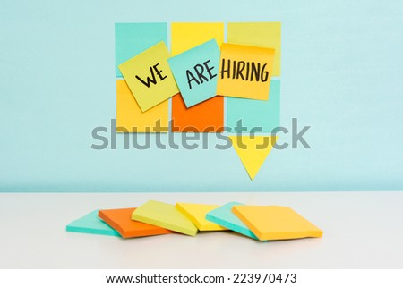 We are hiring notes on notes speech bubble concept - stock photo