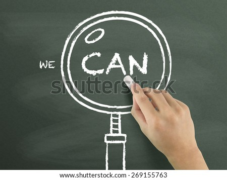 we can words with magnifying glass drawn by hand over chalkboard  - stock photo