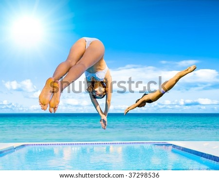 We do some divin' here! - stock photo