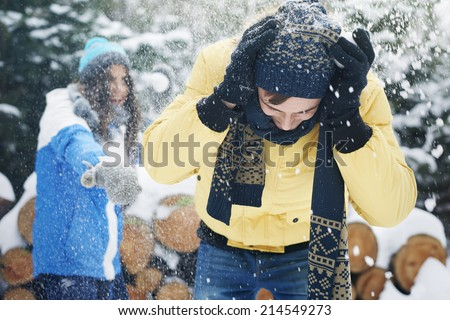 We feel like a child when first snow fell  - stock photo