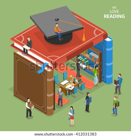 We love reading isometric flat concept. People near and inside library that is built of books. Education, reading, learning online. Online education, e-learning, tutorial, training courses. - stock photo