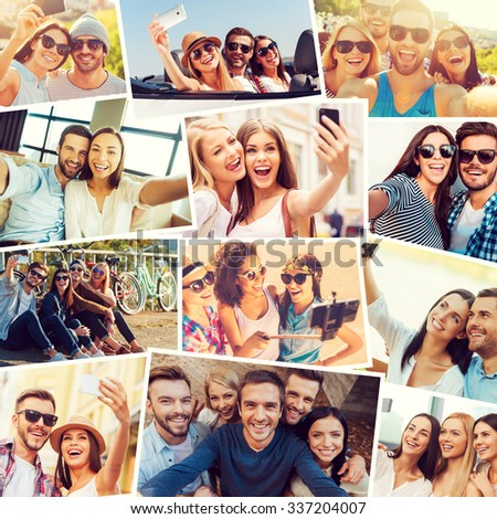 We love selfie! Collage of diverse multi-ethnic young people making selfie and expressing positivity - stock photo