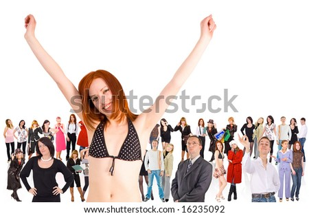 "we rock! -  of  ""Groups of people"" multiple series in studio's portfolio - stock photo"