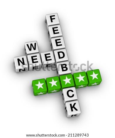 we want feedback crossword puzzle - stock photo