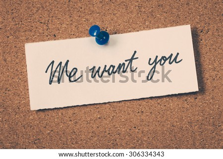we want you - stock photo