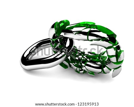 Weak link in a chain about to break - stock photo