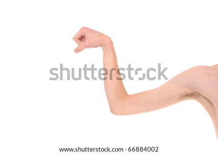 Weak White Caucasian skinny arm trying to flex his muscles. Isolated on white. - stock photo