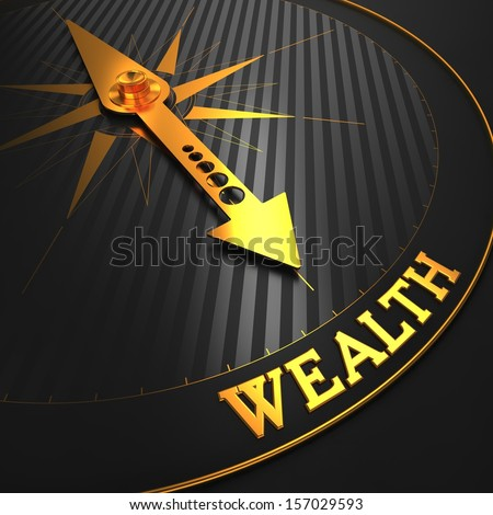 "Wealth - Business Background. Golden Compass Needle on a Black Field Pointing to the Word ""Wealth"". 3D Render. - stock photo"