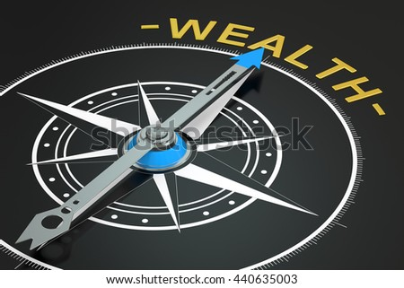 Wealth compass concept, 3D rendering - stock photo