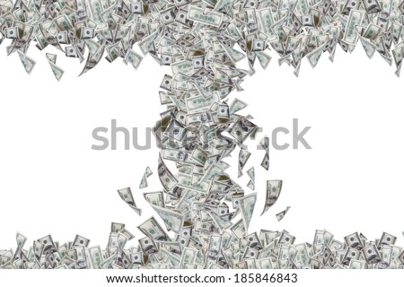 Wealth concept, one hundred dollar banknotes flying and falling down in tornado, isolated on white background. - stock photo