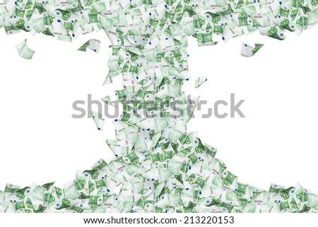 Wealth concept, one hundred euro banknotes flying and falling down in tornado, isolated on white background. - stock photo