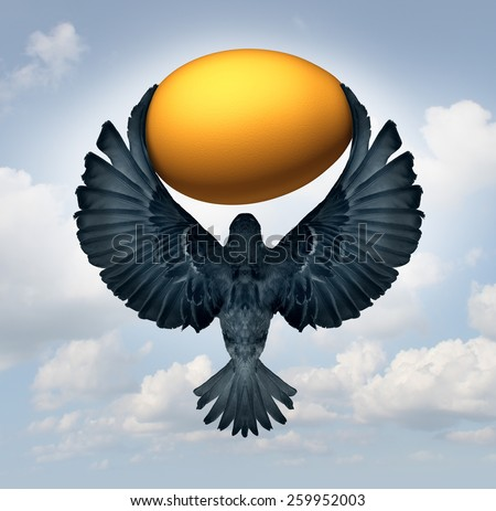 Wealth management and transfer of funds as a financial and business investment concept as a flying bird carrying a gold egg as an investor symbol for managing savings. - stock photo