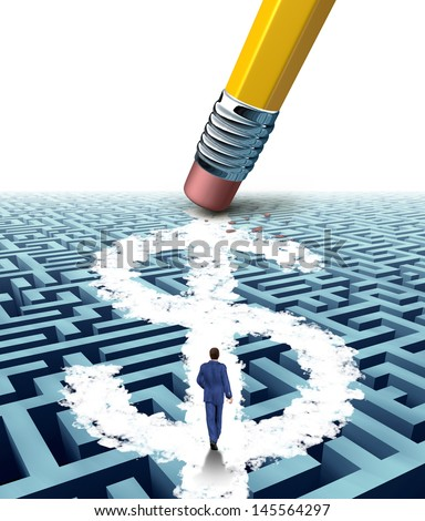 Wealth solutions as a businessman walking through a maze opened up by a pencil eraser that has erased a new path shaped as a dollar sign as a business concept of innovative thinking in money success. - stock photo