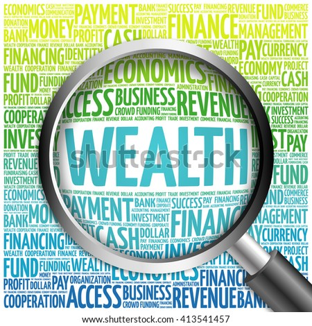 WEALTH word cloud with magnifying glass, business concept - stock photo