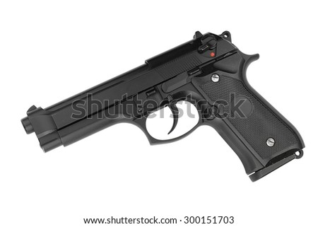 Weapon series. Modern U.S. Army handgun M9 close-up. Isolated on a white background. Studio shot. - stock photo