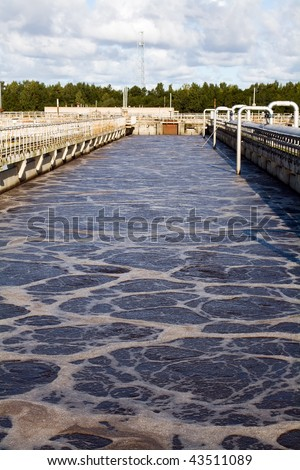 weastewater aeration basin - stock photo