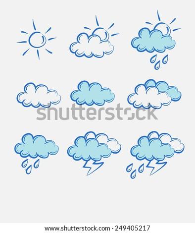 weather doodle set - stock photo