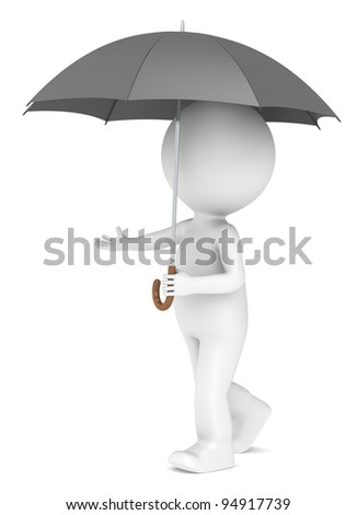 Weather Forecast. 3D little human character with an Umbrella. People series - stock photo