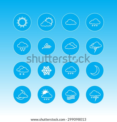 weather forecast icons in blue rounds - stock photo