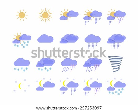 weather forecast icons isolated on white background - stock photo