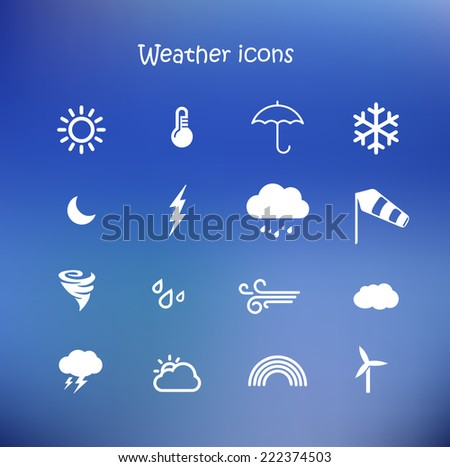 Weather forecast, meteorology icon set in a blue background  - stock photo