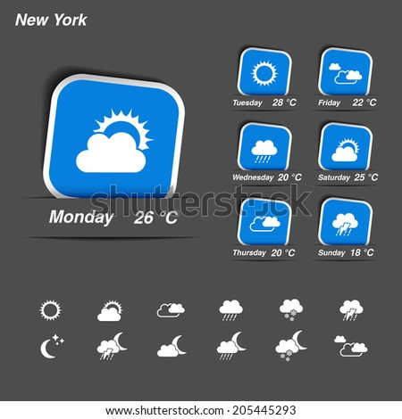 weather forecast, widget, banner and symbols - stock photo