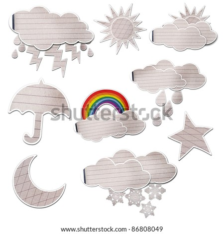 weather icon set created by grunge paper cut isolated on white - stock photo