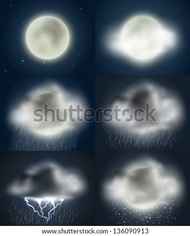 Weather icons collection (night) - raster version - stock photo