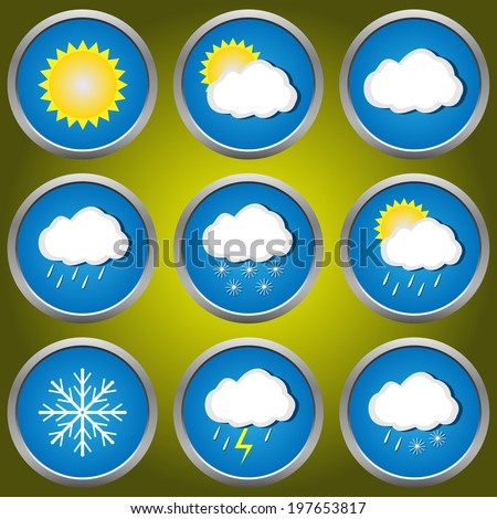 Weather icons set for web applications raster illustration stock
