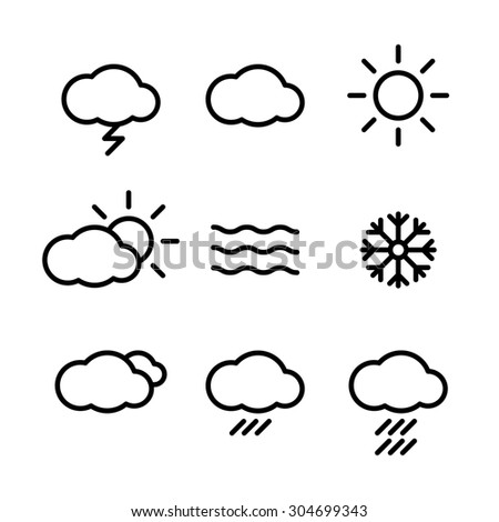 Weather Icons with White Background  web Rasterized Copy - stock photo