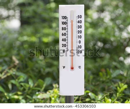 Weather Instrument responding to current conditions/Climate Change/Thermometer gives indicates heat in the atmosphere. - stock photo
