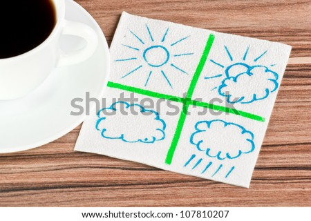 Weather on a napkin and cup of coffee - stock photo