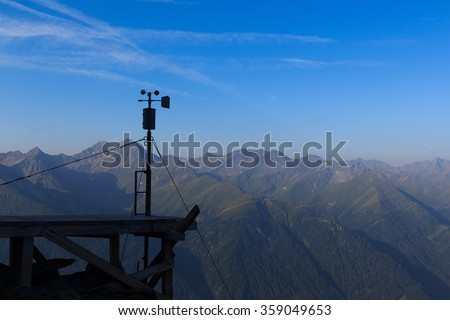 Weather station and mountain panorama in Hohe Tauern Alps, Austria - stock photo