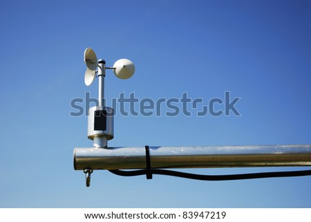 Weather station for measuring wind velocity - stock photo